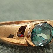 Estate 14 K 2 CT Blue Zircon Rose Gold Ring