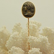 Estate 14 K Cameo Stick Pin