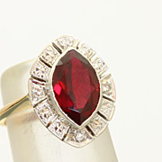 Estate 14 K Red Stone Diamond Ring