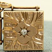 14 K Rose Gold 0.15 CT Old European Cut Diamond Locket