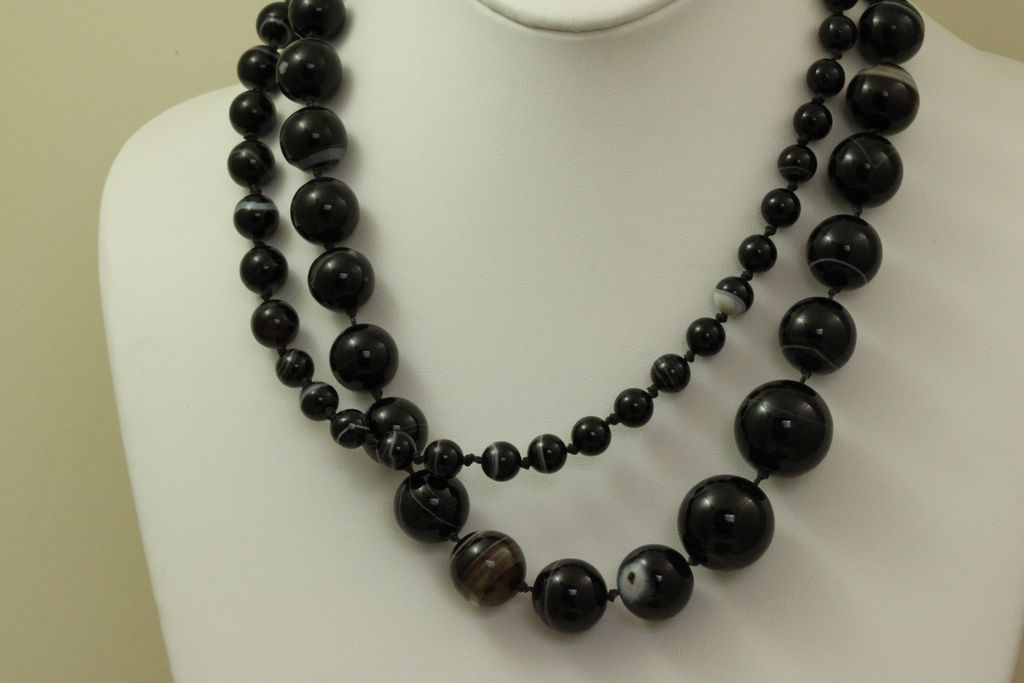 """Estate 38"""" Graduated Banded Agate Necklace"""