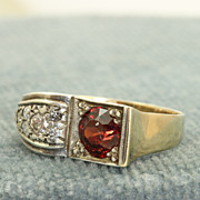 8 K/Platinum Garnet and Diamond Ring