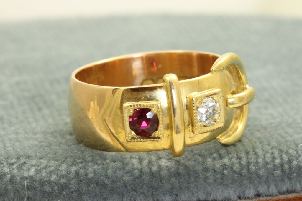Birmingham 1914 18 K Diamond and Ruby Buckle Ring