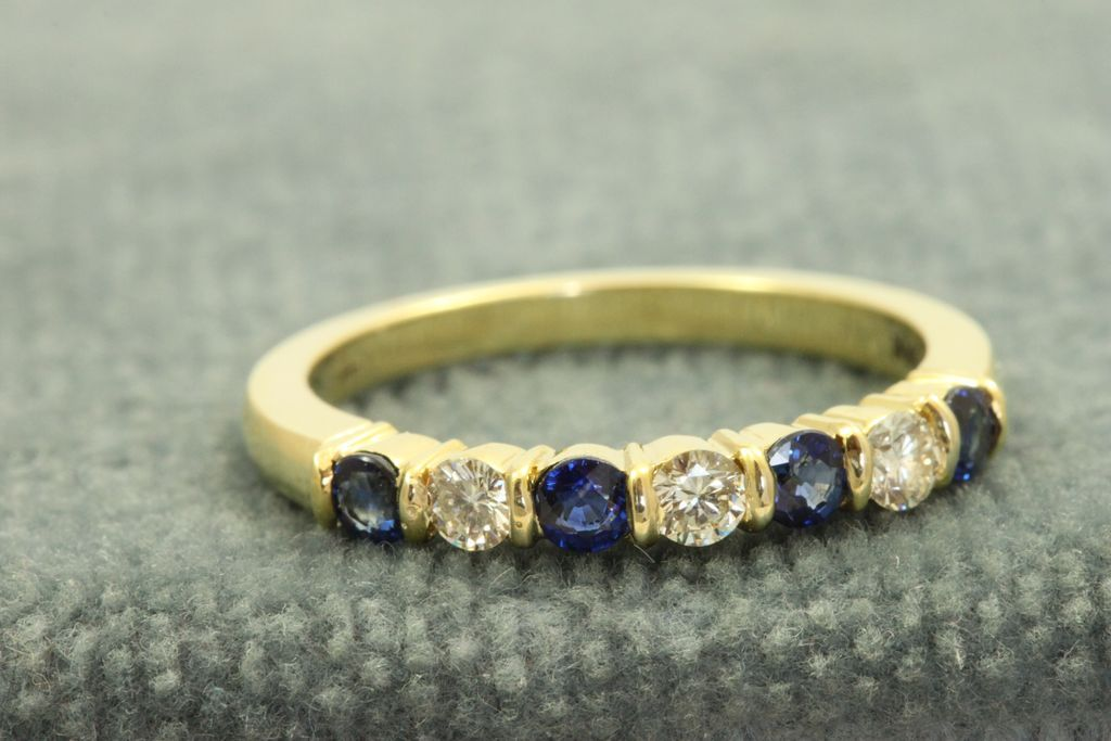 Estate 18 K Jeff Cooper Diamond and Sapphire Band