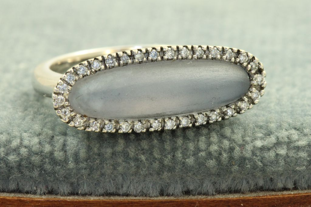 Estate 18 KW Chalcedony Diamond Ring