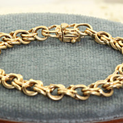 Estate 14 K Double Link Charm Bracelet