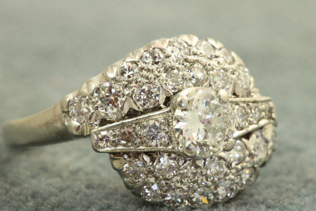 Estate 1930's Platinum 1.25 CT Diamond Ring