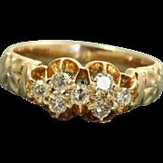 Estate 1950's 14 K Diamond Cluster Ring