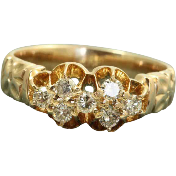 Estate 1950's 14 K Diamond Cluster Ring