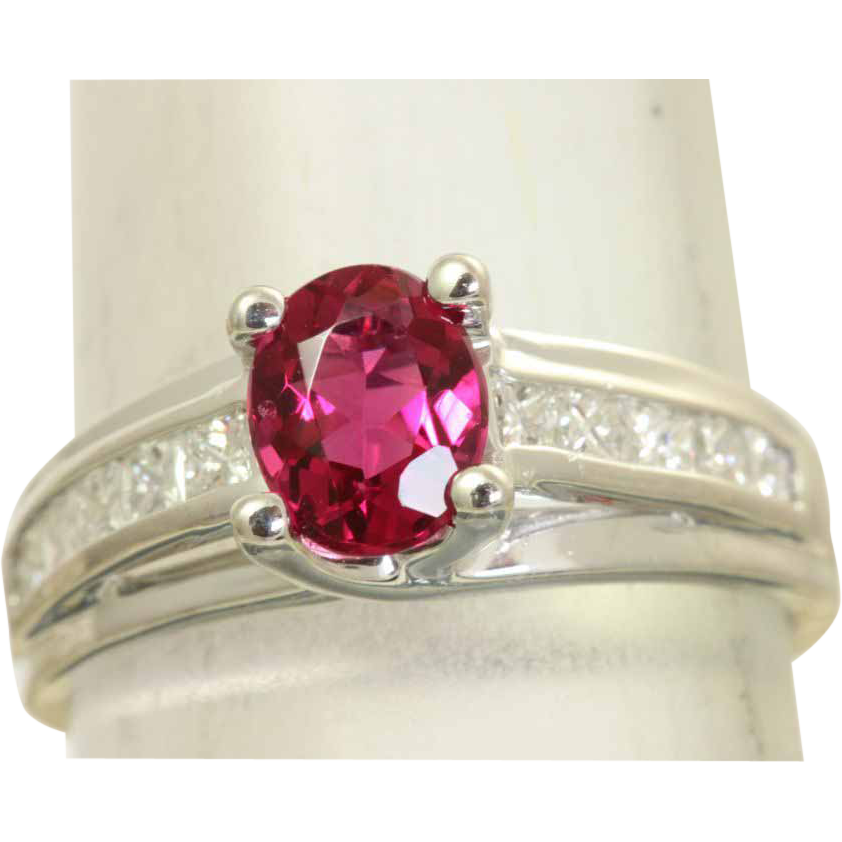 Estate 18 KW Raspberry Tourmaline Diamond Ring