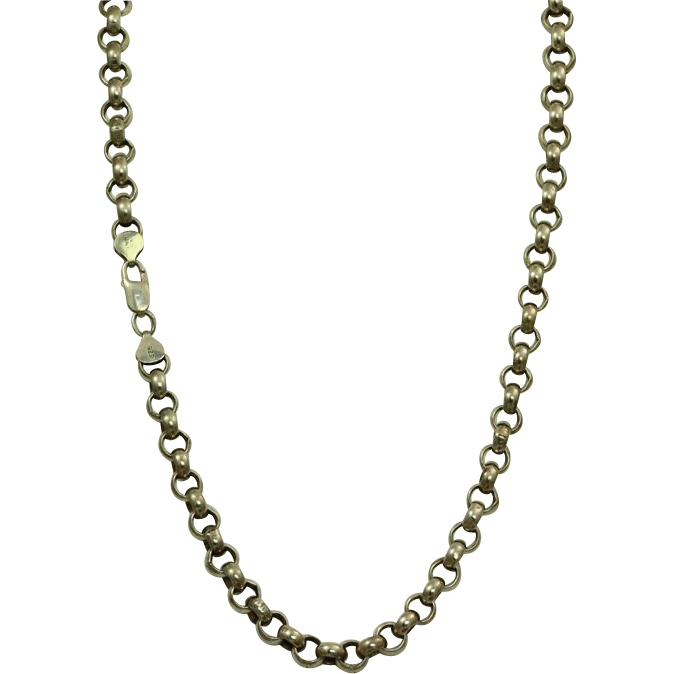 "Estate 24"" Sterling Rolo Necklace, Italy"