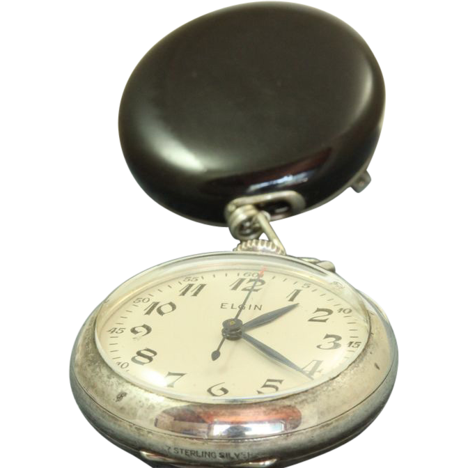 1939 Elgin Sterling and Onyx  Nurse's Watch