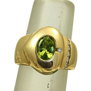 Estate  1960's 14 K 1.5 CT Peridot Diamond Modernist Ring