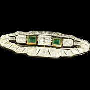 Estate 18 K Old European Cut Diamond Emerald Brooch