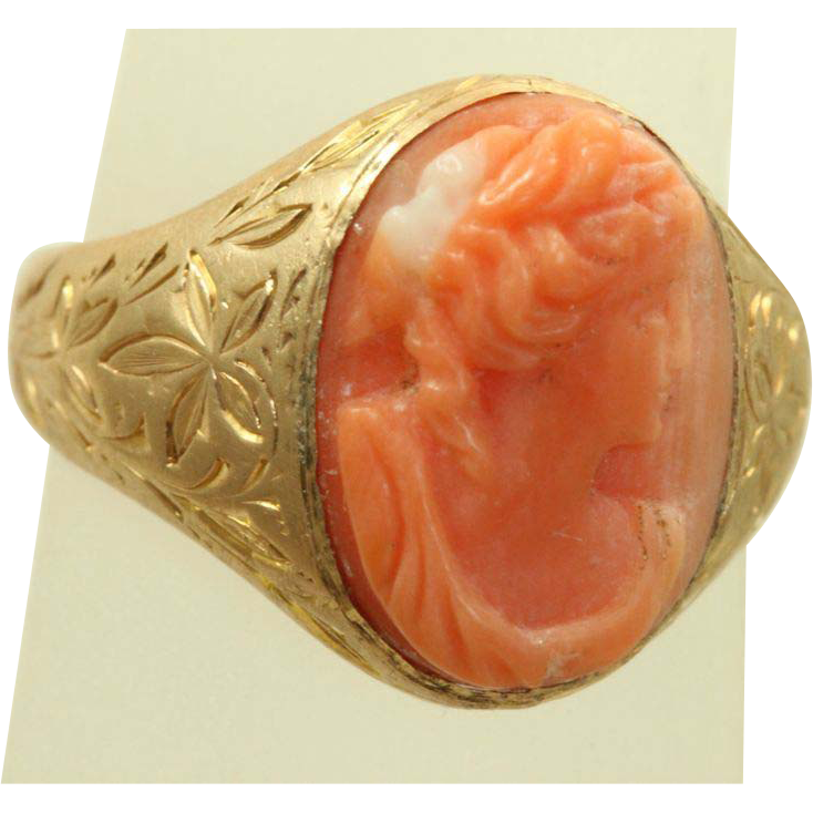 Estate 14 K Coral Cameo Chased Ring