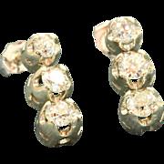 Estate  14 KW 1.35 CT Old European Cut Diamond Earrings