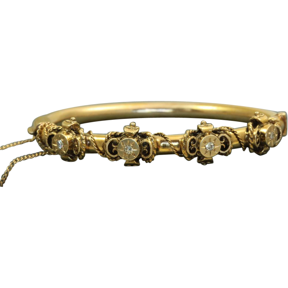 14 K Diamond Etruscan Revival Bangle Bracelet
