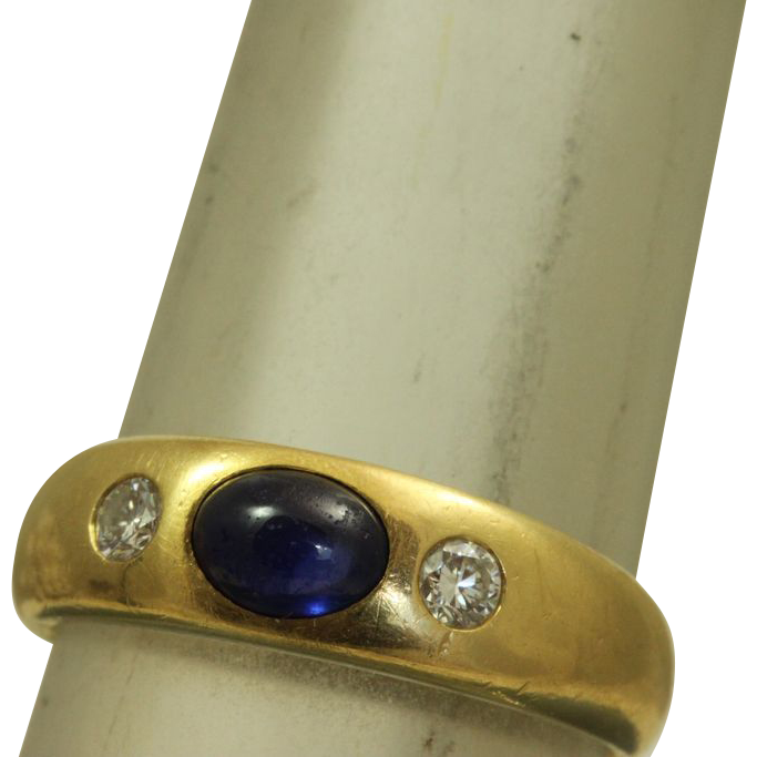 18 K European Belcher 0.50 CT Sapphire and Diamond Ring