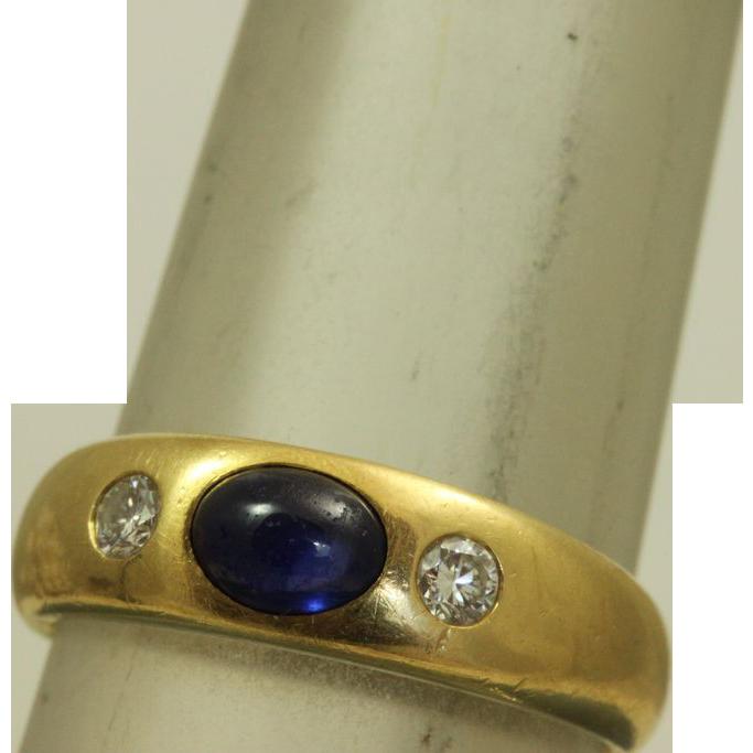 18 K European Belcher 0.50 CT Sapphire and Diamond Ring