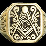 Estate 14 K Enamel Masonic Ring