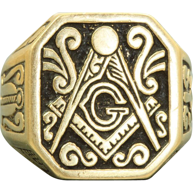 Estate 14 K Enamel Masonic Ring