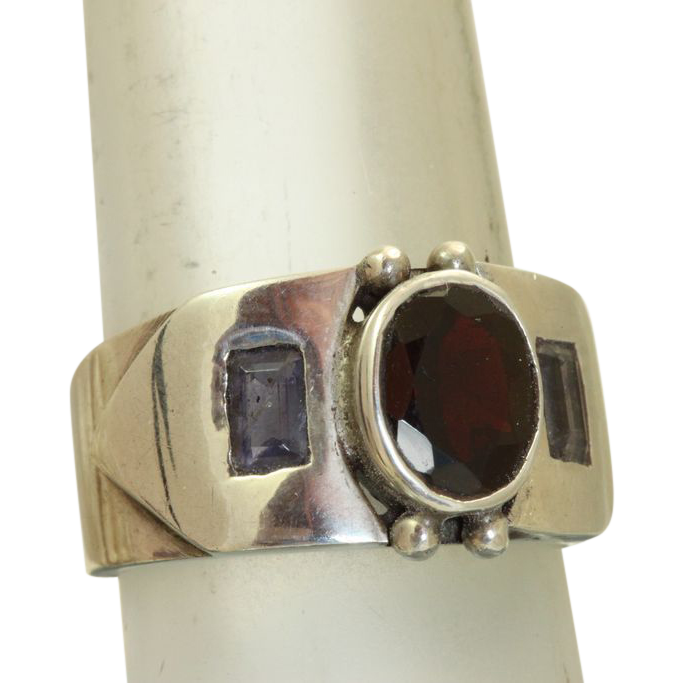 Estate Sterling Garnet Tanzanite Buckle Ring