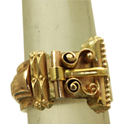 14 K Mid 20th Century 'Steampunk' Buckle Ring