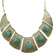 Estate Sterling Silver Egyptian Revival Scarab Necklace