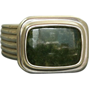 Retired Slane & Slane Green Jasper Sterling Ring