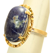 Estate Etruscan Revival 18K/22K Sodalite Ring