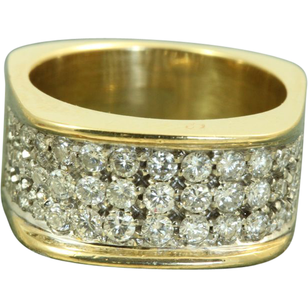 1950's 18 K Designer 1.5 CT Diamond Band