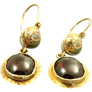 Early 14 K Etruscan Style Garnet Diamond Earrings