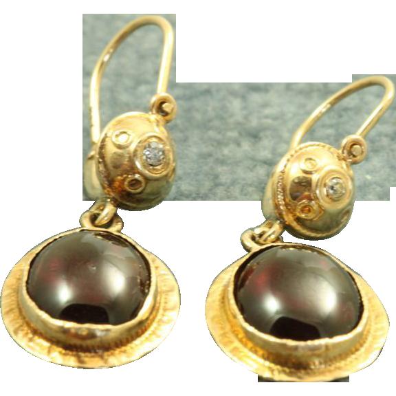 Early 14 K Etruscan Style Garnet Diamond Earrings