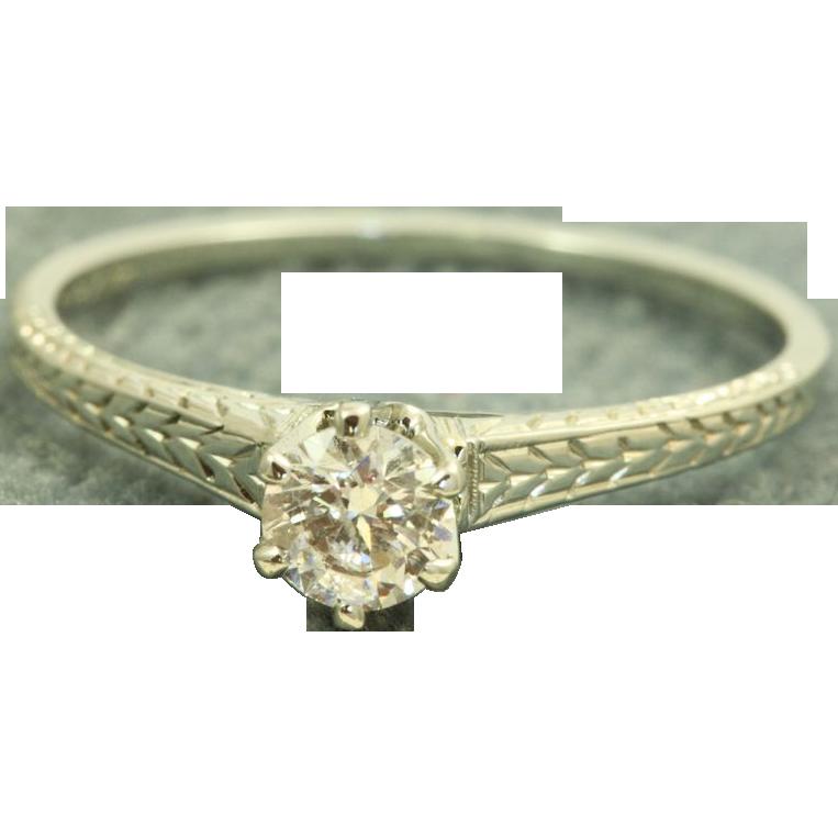 Estate 18 KW 1920's 0.40 CT Old European Cut Diamond Ring