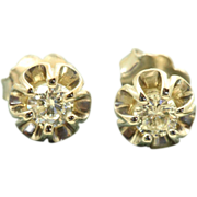 Estate 14 KW 0.44 CT Diamond Buttercup Earrings