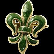 Vintage Sterling Enamel Fleur d' Leis Watch Pin