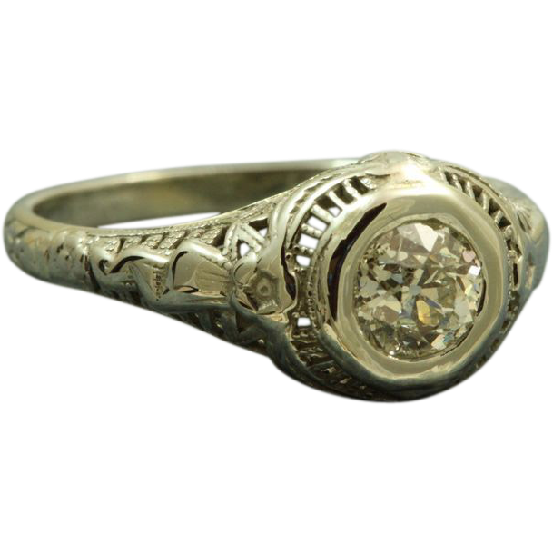 1920's 18 KW 0.53 Old European Cut Diamond Orange Blossom Ring