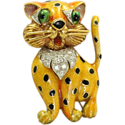 Estate 1960's 18 K Enamel Diamond Leopard Brooch