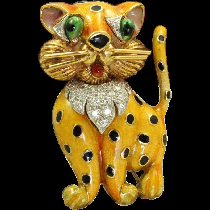 Estate 1960's 18 K Enamel Diamond Leopard Brooch