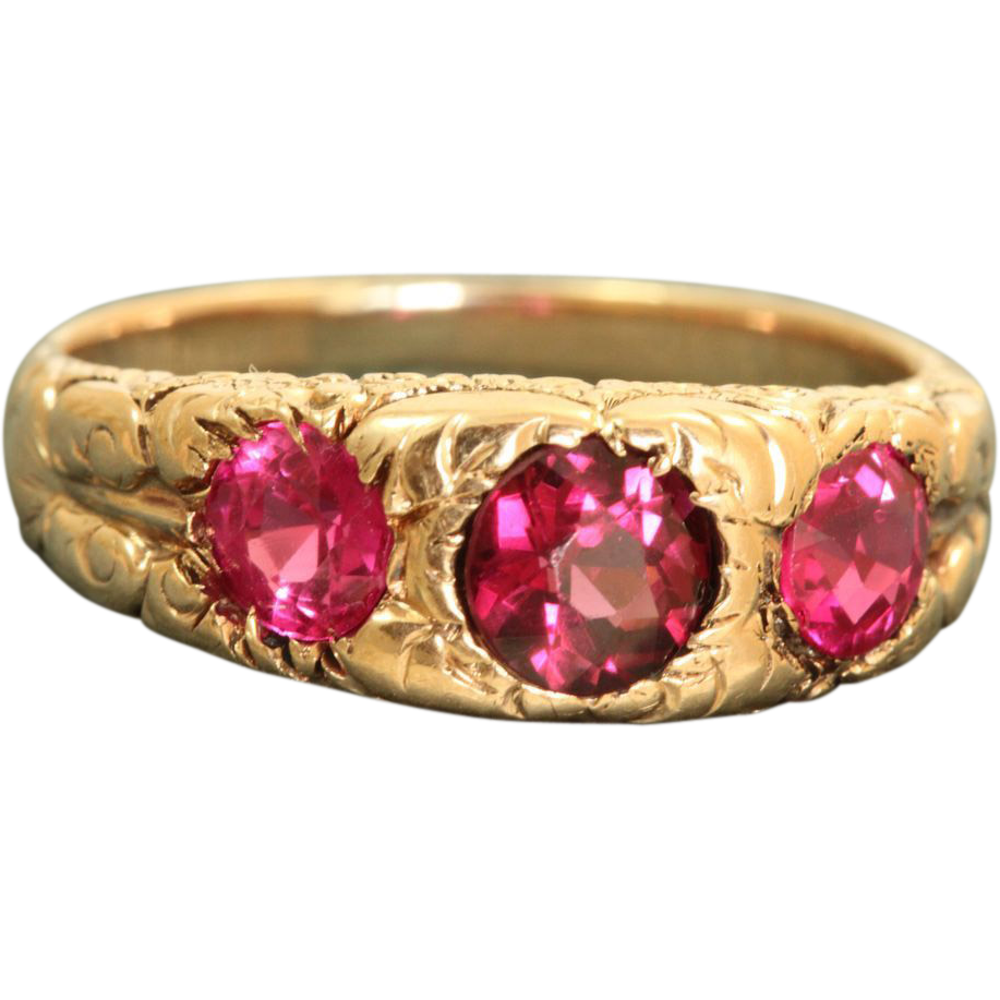14 K Early Chased Three Stone Pink Spinel Band