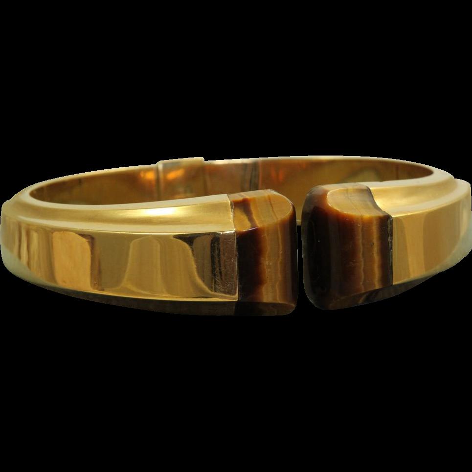 Estate 18 K Solid Gold Tiger's Eye Bracelet