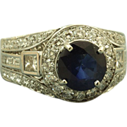 Estate 18 K  5 CT Sapphire Diamond Ring