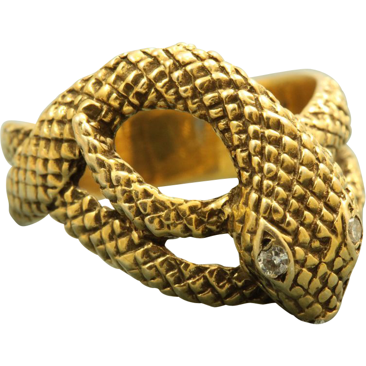 Estate 14 K Suberi Brothers Diamond Snake Ring