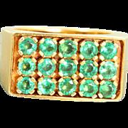 Estate 1970's 14 K 1.5 CT Natural Emerald Ring