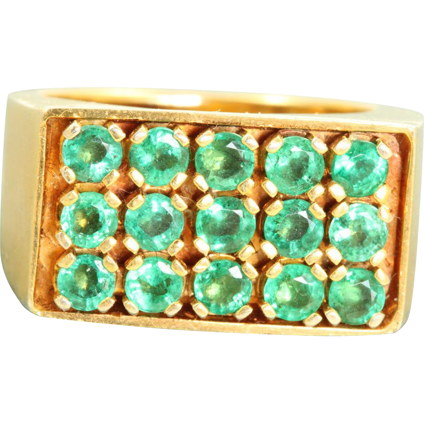 Estate 1970's 14 K 1.5 CT Natural Emerald Ring
