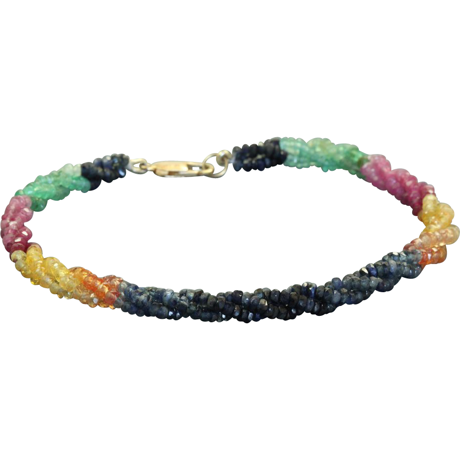 Estate 14 K Multi Gem Twisted Bracelet