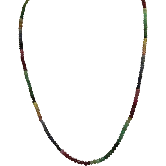 "Estate 18"" 14 K Multi Gem Necklace"