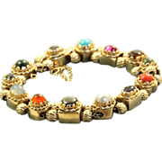 Estate 1940's 14 K Multi-Gem Slide Bracelet