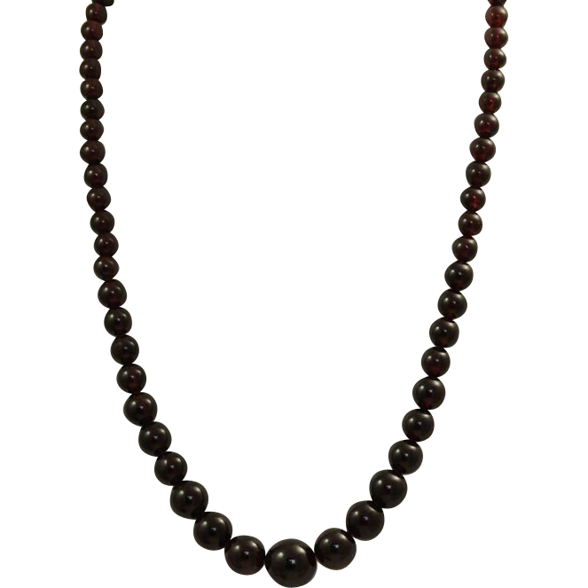 "Estate Sterling 20"" Graduated Garnet Necklace"