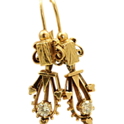 Estate 14 K 0.33 CT Diamond Etruscan Dangle Earrings